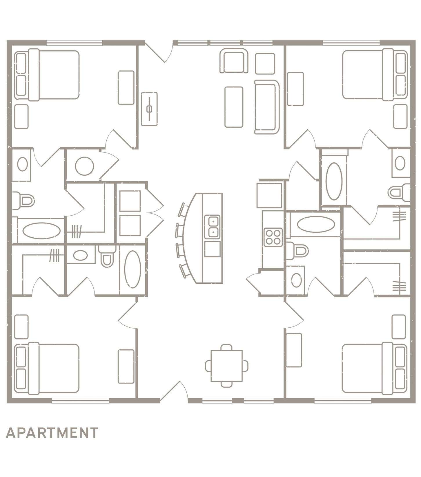 4,3,2 Bedroom Apartment Floorplans - Redpoint Baton Rouge